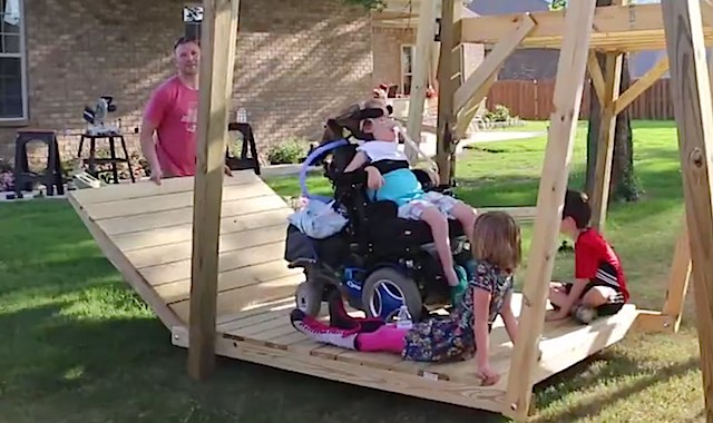 http://www.goodnewsnetwork.org/dad-builds-awesome-swing-so-daughter-in-wheelchair-can-play/